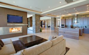 beautiful home interior with recessed lighting